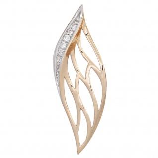 Anhänger 585 Gold Rotgold 8 Diamanten Brillanten 0, 05ct. Rotgoldanhänger