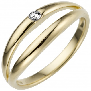 Damen Ring 585 Gold Gelbgold 1 Diamant Brillant 0, 07ct.
