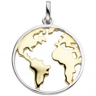 Anhänger Weltkarte 925 Sterling Silber bicolor vergoldet - Vorschau