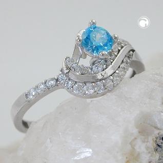 Ring 10mm Zirkonias aqua und weiß glänzend rhodiniert Silber 925 Ringgröße 58 - Vorschau 2