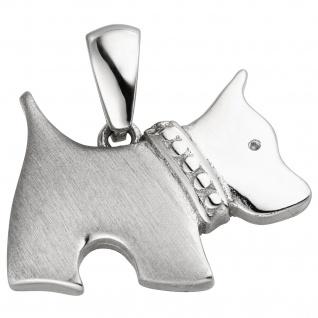 Anhänger Hund 925 Sterling Silber mattiert Silberanhänger