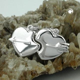 Anhänger 30x16mm Doppelanhänger 2 Herzen mit Pfeil glänzend Silber 925 - Vorschau 2