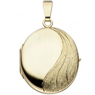 Medaillon oval 585 Gold Gelbgold mattiert Anhänger zum Öffnen