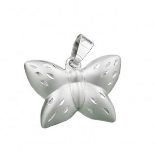 Anhänger 11x16mm Schmetterling matt-glänzend diamantiert Silber 925