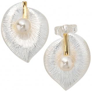 Ohrstecker 925 Sterling Silber bicolor vergoldet 2 Süßwasser Perlen Ohrringe