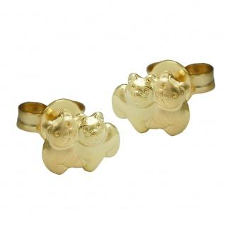 Stecker 6x8mm Bärenpaar matt-glänzend 9Kt GOLD