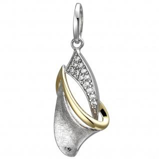 Anhänger 925 Silber bicolor vergoldet eismatt 12 Zirkonia Silberanhänger