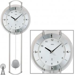AMS 5254 Wanduhr Funk Funkwanduhr mit Pendel silbern modern Pendeluhr mit Glas