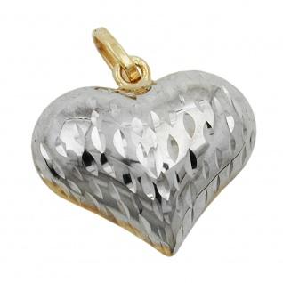 Anhänger 14x16x6mm Herz bicolor diamantiert 9Kt GOLD