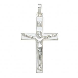 Anhänger Kreuz 925 Sterling Silber mattiert Kreuzanhänger Silberkreuz