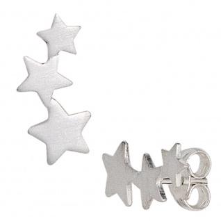 Ohrstecker Sterne 925 Sterling Silber matt Ohrringe Silberohrstecker