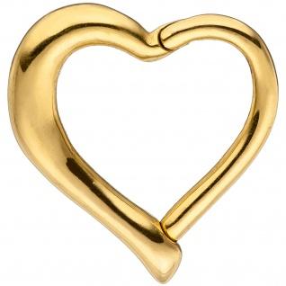 Segmentring Herz Edelstahl gold farben beschichtet Scharnier Ringstärke 1, 2 mm