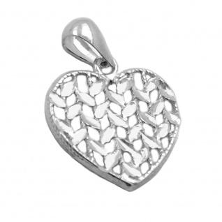 Anhänger 15x15mm Herz glänzend diamantiert Silber 925