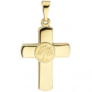 Anhänger Kreuz Lebensbaum 333 Gold Gelbgold teil matt Kreuzanhänger Goldkreuz