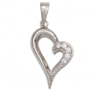 Anhänger Herz 925 Sterling Silber rhodiniert mit Zirkonia Herzanhänger