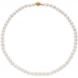 Kette mit Akoya Perlen und 925 Silber vergoldet 43 cm Perlenkette
