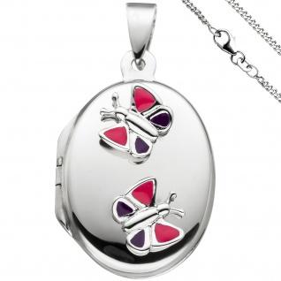 Medaillon Schmetterling Anhänger für 2 Fotos oval 925 Silber mit Kette 42 cm