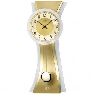 AMS 7267 Wanduhr Quarz mit Pendel golden modern geschwungen Pendeluhr mit Glas