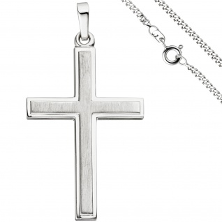 Anhänger Kreuz 925 Silber teil matt Kreuzanhänger Silberkreuz mit Kette 50 cm