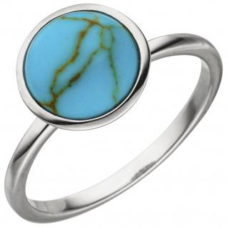 Damen Ring 925 Sterling Silber 1 Türkis-Imitation Silberring - Vorschau