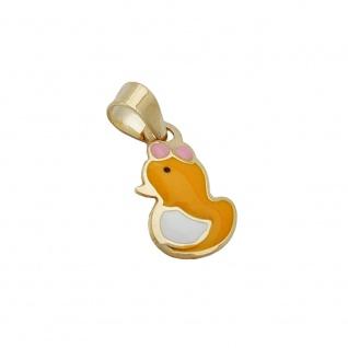Anhänger 11x7mm kleine Ente farbig emailliert 9Kt GOLD