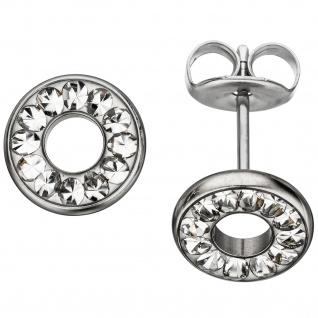 Ohrstecker rund Edelstahl mit Kristallsteinen Ohrringe - Vorschau