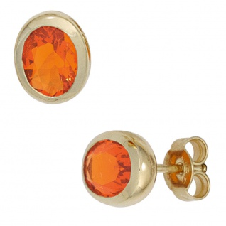 Ohrstecker oval 585 Gold Gelbgold 2 Feueropale Ohrringe Opalohrstecker