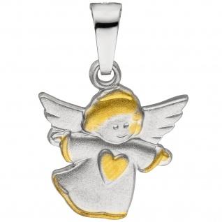 Anhänger Engel Schutzengel 925 Sterling Silber bicolor matt Silberanhänger