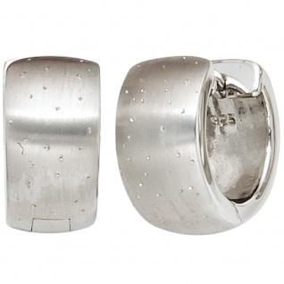 Creolen breit rund 925 Sterling Silber mattiert mit Glitzereffekt Ohrringe