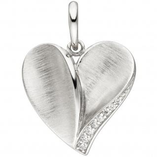 Anhänger Herz 925 Silber teil matt 8 Zirkonia Herzanhänger Silberanhänger