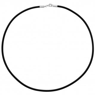 Halskette Kautschuk schwarz mit 925 Silber 2 mm 42 cm Kautschukkette