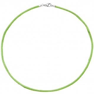 Collier Halskette Seide hellgrün 2, 8 mm 42 cm, Verschluss 925 Silber Kette