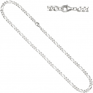 Figarokette 925 Silber diamantiert 60 cm Kette Halskette Silberkette Karabiner