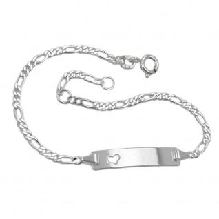 Schildarmband für Kinder 2, 3mm Figarokette Gravurplatte 25x5mm mit Herz Silber 925 16cm
