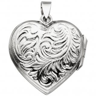 Medaillon Herz zum Öffnen für 2 Fotos 925 Sterling Silber Herzanhänger - Vorschau 2