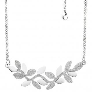 Collier Halskette Blätter Edelstahl mit Glitzereffekt 46 cm Kette