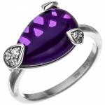Damen Ring 925 Sterling Silber 9 Zirkonia 1 Amethyst lila violett Silberring