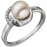 Damen Ring 925 Sterling Silber mit 1 SÃÃ wasser Perle und