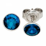 Ohrstecker rund 925 Sterling Silber 1 Zirkonia blau Ohrringe