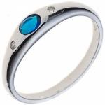 Damen Ring 925 Sterling Silber rhodiniert 1 Zirkonia blau Silberring