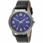 Herren Armbanduhr Quarz Analog blau Titan Lederband schwarz Herrenuhr Datum