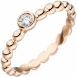 Damen Ring Kugel 925 Sterling Silber rotgold vergoldet 1 Zirkonia Kugelring