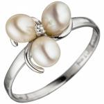 Damen Ring 925 Silber 3 SÃÃ wasser Perlen 1 Zirkonia