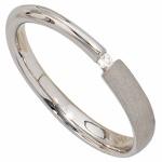 Damen Ring 925 Sterling Silber rhodiniert mattiert 1 Diamant 002ct Silberring