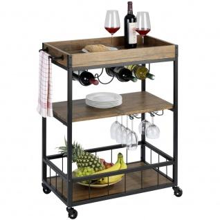 RUSTICO Küchenwagen, dreistufiges Gestell auf Rädern mit Flaschenhalter und Glashalter - 80 x 89, 5 x 40 cm, WENKO