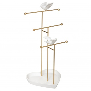 Schmuckständer mit Tauben-Motiv, golden-weiß