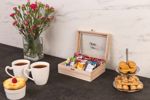 Tee-Behälter aus Holz mit 6 Fächern, Holzschatulle, Teekiste, Teedose - EH Excellent Houseware