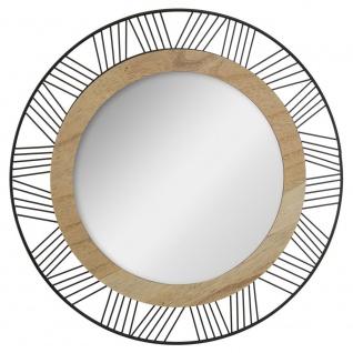 Runder Spiegel für die Wandmontage mit einem dekorativen Rahmen aus Holz und Metall ausgestattet.