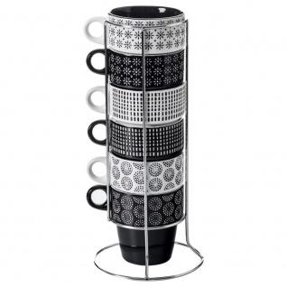 Set aus 6 Porzellantassen auf einem Ständer, Kaffeetassen, Tassenset