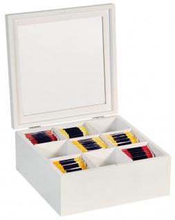 Teebox mit 9 Fächern Teebeutelbox mit Sichtfenster 22 x 22 x 9 cm Teekiste 58920 weiß - Kesper